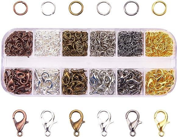 Surtido de cierres de langosta y anillos de salto en 1 caja, hallazgos de joyería para hacer joyería DIY abalorios pulseras collares colgantes reparación, 6 colores: Amazon.es: Hogar