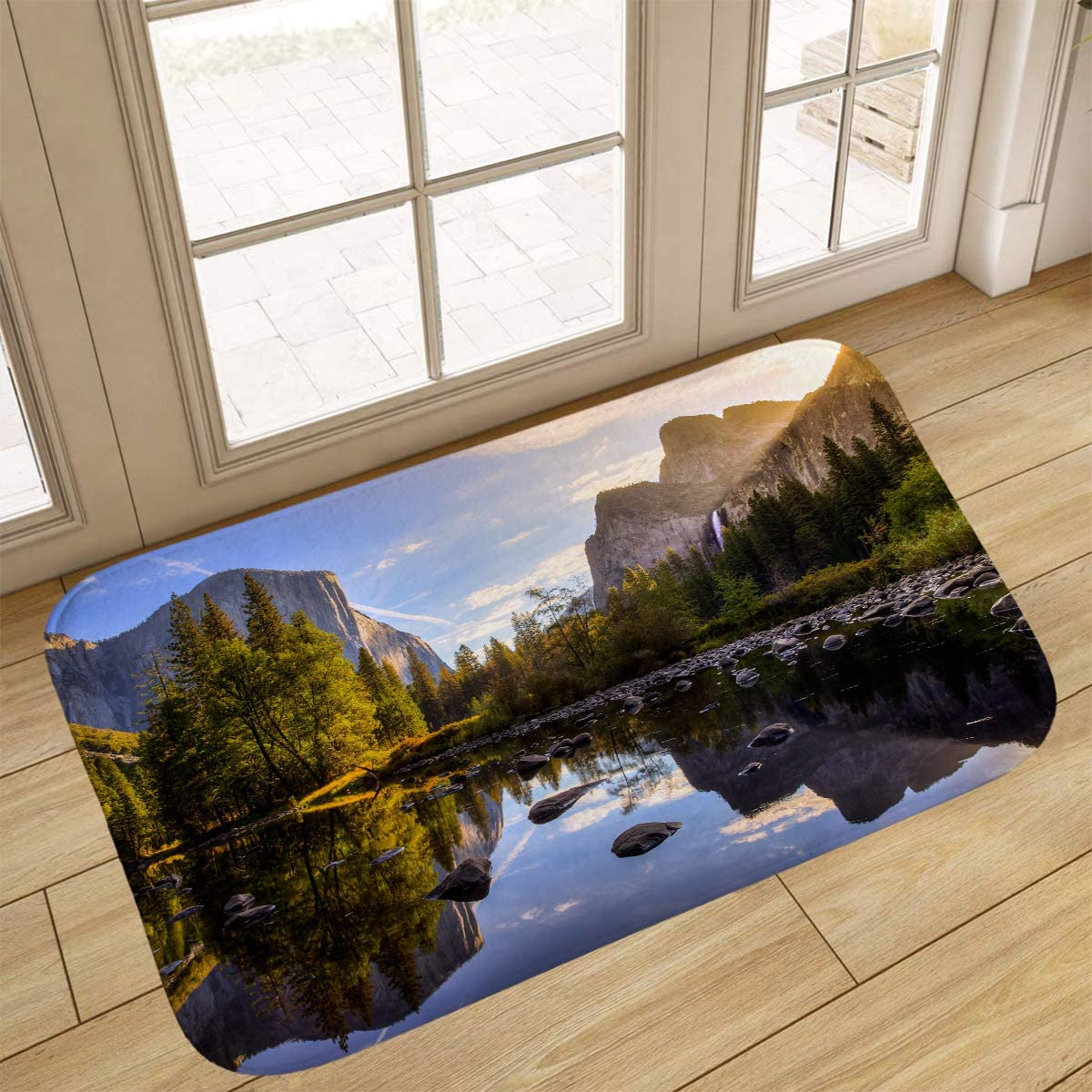 Yosemite Bathroom Rugs, Doormat,Sunrise On Yosemite Valley Yosemite National Park,Home Decor Floor Carpet Bath Mat,16x24 in