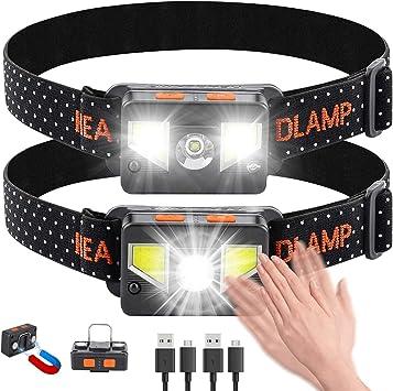 bedee Linterna Frontal LED Recargable, Linterna Cabeza USB 8 Modos con Sensor y Luz Roja, 1000 Lúmenes Frontal LED Recargable Impermeable para ...