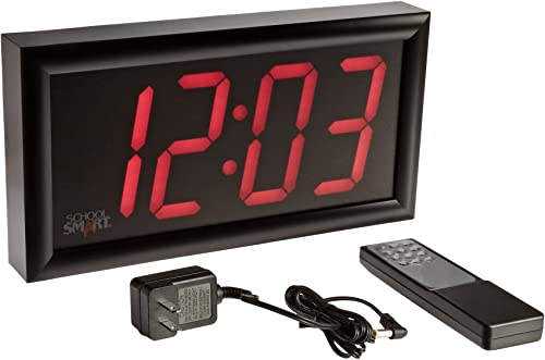School Smart – 90525 LED Clock with Remote Control, High Visibility, 7 x 13 Inches