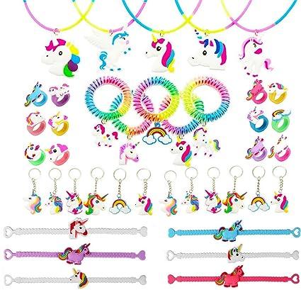 a9ef80e16fe6 Funnyshow 40 Piezas Llavero Unicornio Pulsera Unicornio Anillo Collar  Espiral Pelo Corbatas Silicona para Unicornio Infantiles