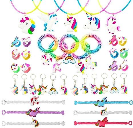carino e colorato grande sconto prezzo speciale per Funnyshow 40PCS Unicorno Portachiavi,Unicorno Anelli di Collana di Unicorno  Bracciale Cravatta i Capelli per Bambine Ragazze Regalo Festa Compleanno