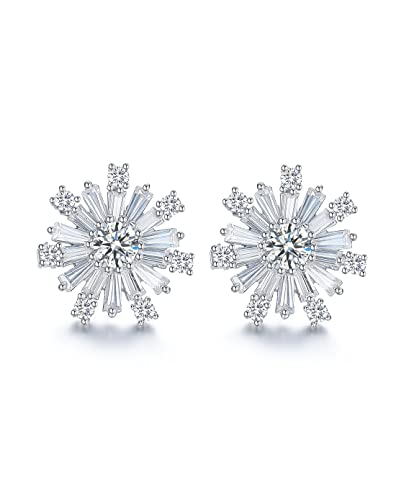 EVER FAITH® 925 Sterling Silver Cubic Zirconia Valentine's Gift Snowflake Flower Stud Earrings N07292-1