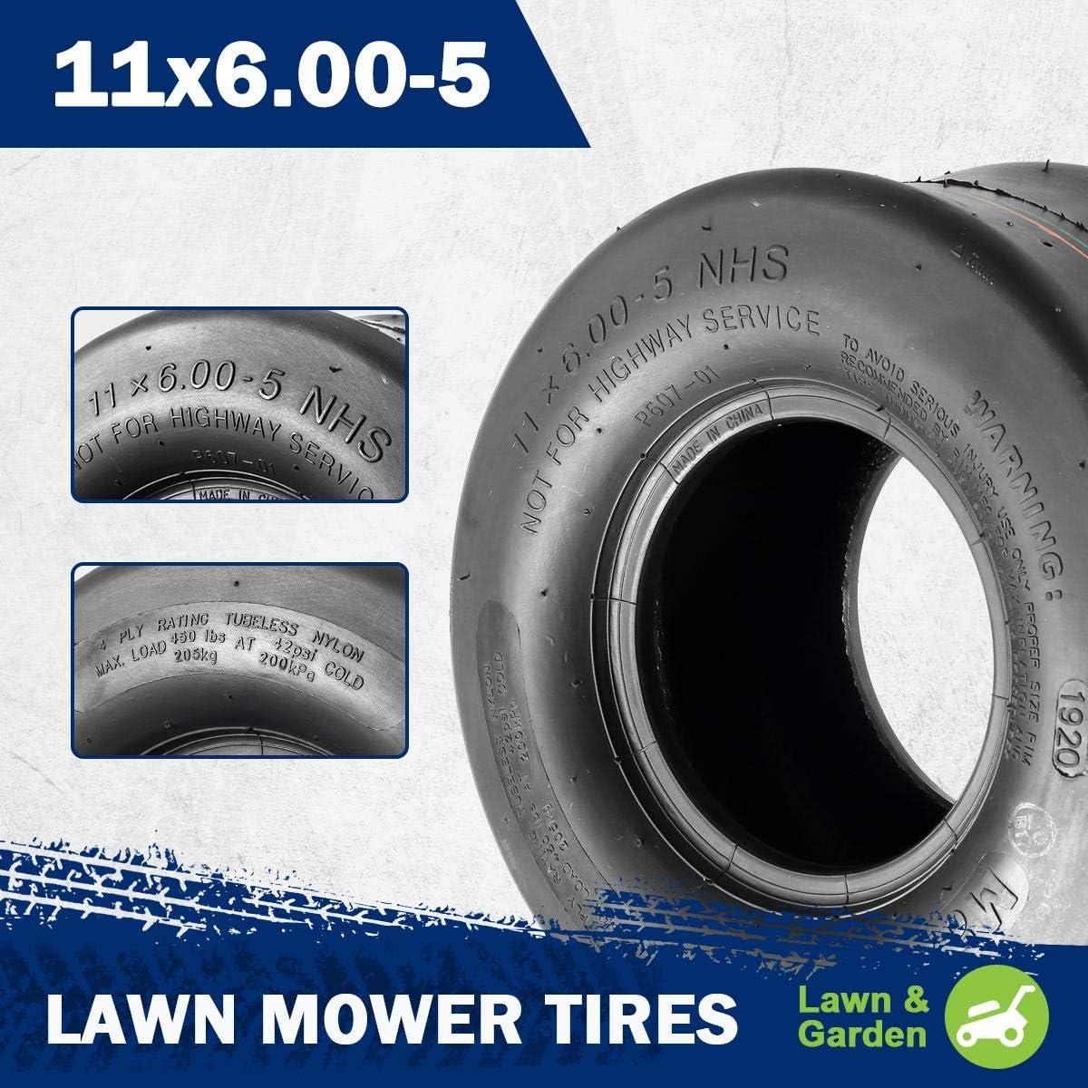 MaxAuto 11x6.00-5 Smooth Lawn /& Garden Tire for Zero Turn Mower or Go-Kart,2Pcs
