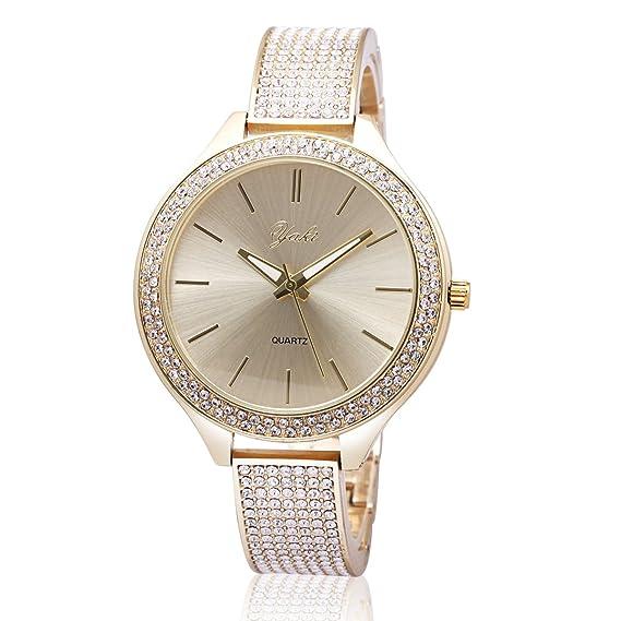 Yaki cuarzo reloj de pulsera reloj de cuarzo reloj mujer oro Metal