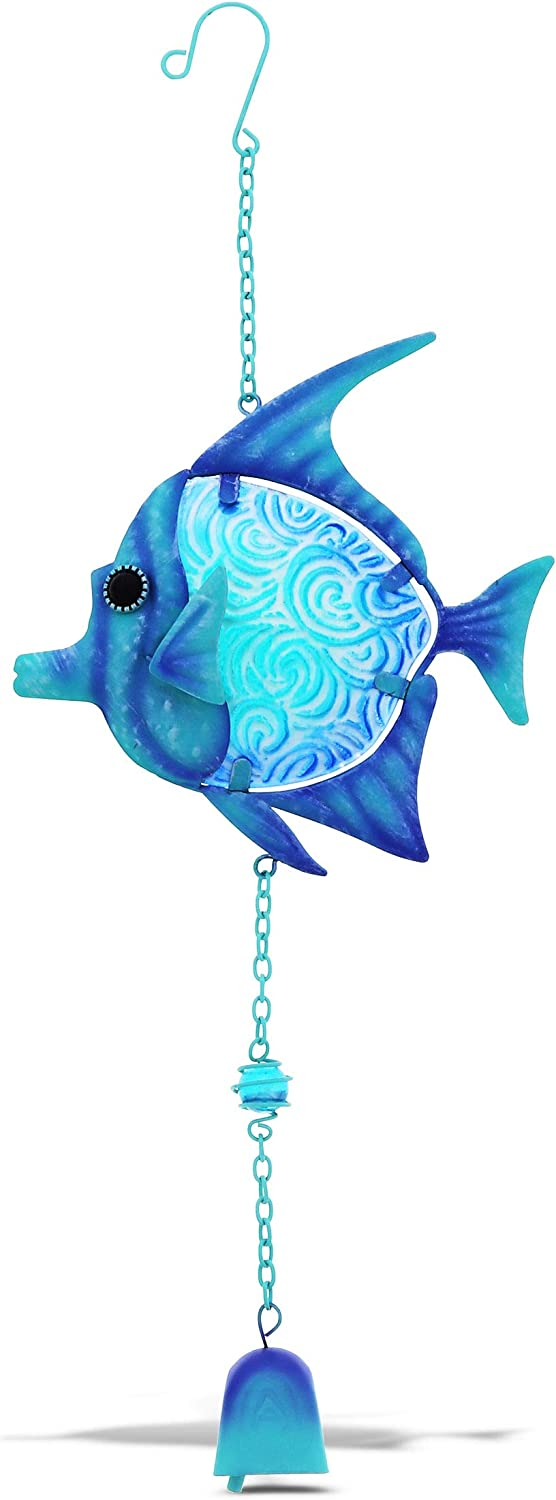 CoTa Global Blue Fish Hanging Sea Glass Wind Chime 17.72 Inch, Nautical Glass Fish Windchime Outdoor Decor for a Harmonic Porch, Patio & Garden, Unique Beach Art Indoor Wind Chime Window Mobile
