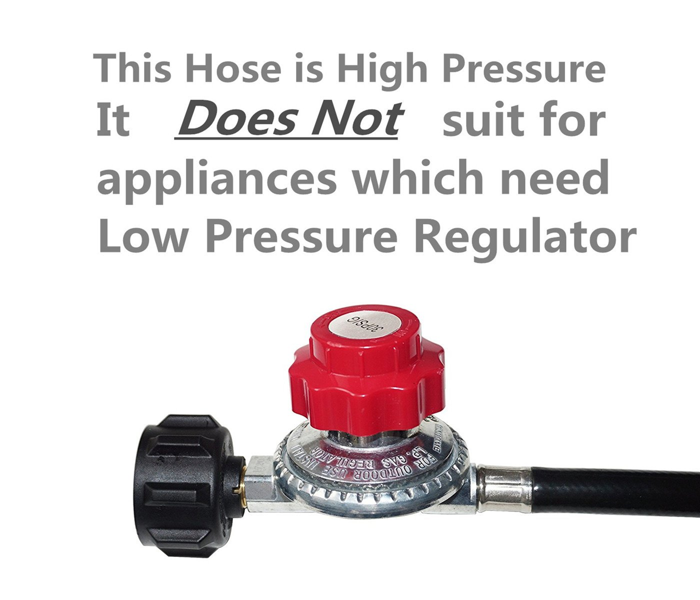 DOZYANT High Pressure Propane 0-30 PSI Adjustable Regulator with 4 Feet QCC1/Type1 Hose - Fits for Propane Burner Turkey Fryer Smoker and More Appliances - Safety Certified by DOZYANT (Image #3)