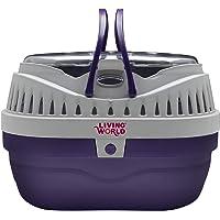 LIVING WORLD 60887 Small Animal Carrier, Purple/Grey