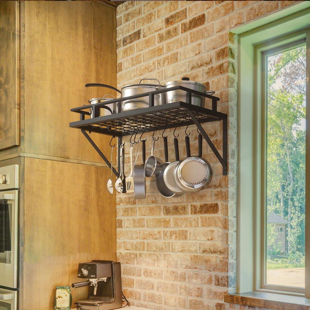 KES 24-Inch Kitchen Wall Mount Pot Pan Rack Wall Shelf With 10 Hooks Matte Black, KUR215S60-BK by Kes (Image #3)