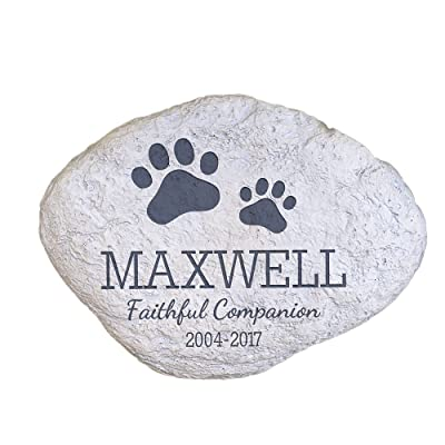 """GiftsForYouNow Personalized Pet Memorial Garden Stone with Paw Prints, 11"""" W x 8"""" H x 1.5"""" D, 2.56 Lbs. - Hollow, Lightweight and Waterproof Resin Dog Memorial Stone for Indoor or Outdoor Display : Garden & Outdoor"""