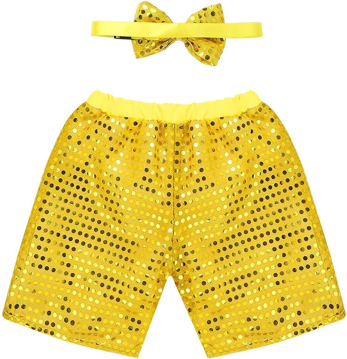 MSemis Pantalones Cortos Lentejuelas Disfraz Jazz para Niñas Niños ...