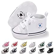 ENERCAKE Baby Boys Girls Canvas Shoes Basic Sneakers Lace Up Infant Newborn First Walker Prewalker Shoes(0-18 Months) (6-12 Months M US Infant, A-White)