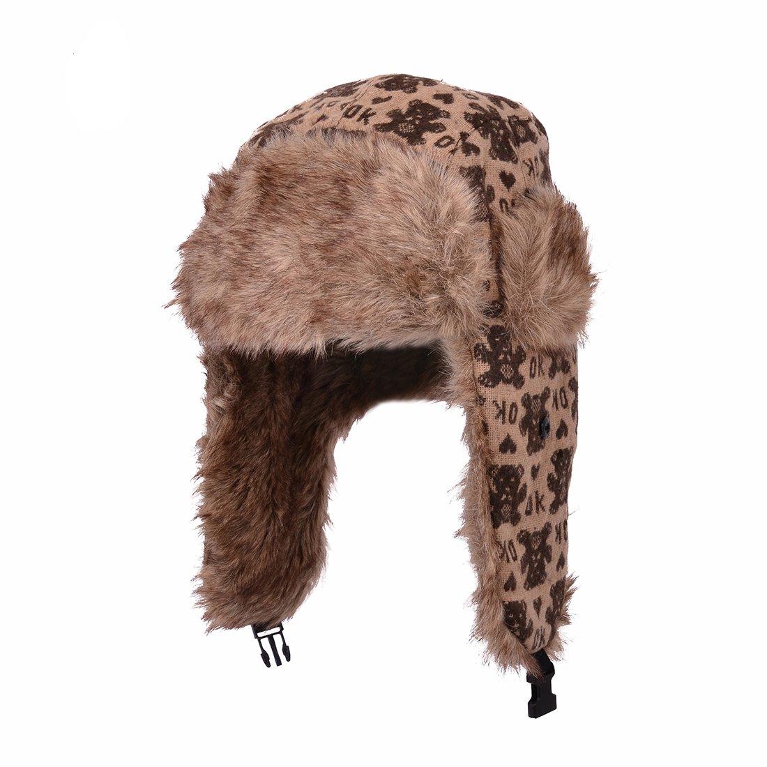 Huan Xun Red Deer Toasty Fleece Lined Knitted Ear Flap Hats Jewellerygets NL-2181 B Red