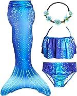 GALLDEALS Mermaid Bikini Set Swimsuit for Swimming Cosplay Costume Bathing Suit