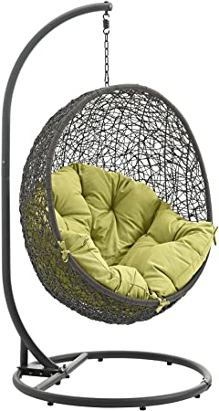 Mid Century Rattan Chair, Amazon Com Modway Hide Wicker Rattan Outdoor Patio Porch Lounge Egg Swing Chair Set With Stand In Gray Peridot Garden Outdoor