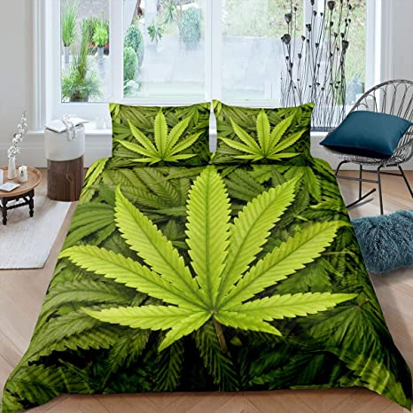 Feelyou Marijuana Leaf Bedding Set for Men Adults Cannabis Leaves Comforter Cover Marijuana Weed Leaf Print Duvet Cover Room Decor Psychedelic Colorful Botanical Bedspread Cover Queen Size 3Pcs