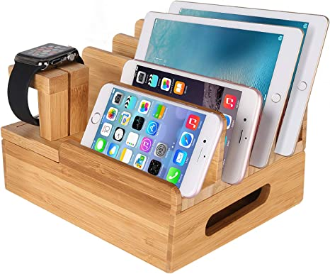 Mozowo Bamboo Wood Multi Device Desktop Charging Dock Station Charger Holder Cradle Stand Compatible Iphone Xs Max Xr X 8 7 6 6s Plus Ipad Mini Pro