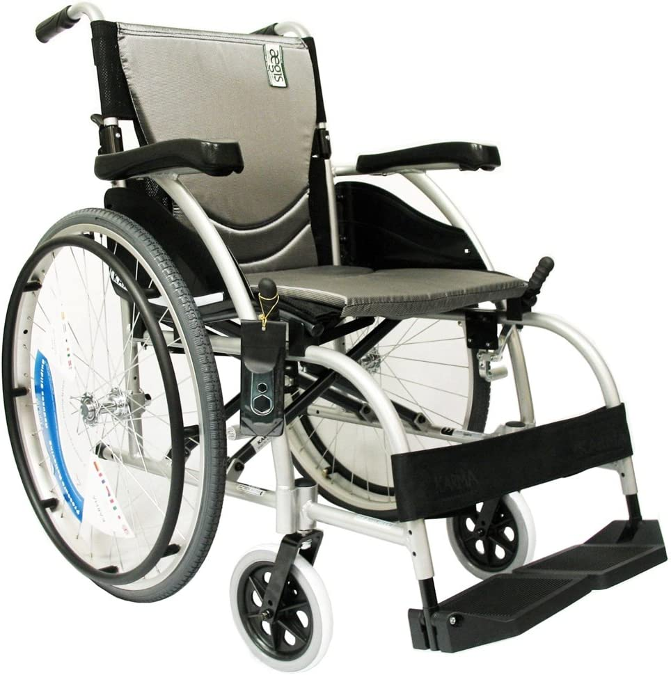 Karman Healthcare S-105 Ergonomic Ultra Lightweight Manual Wheelchair, Pearl Silver, 16 Inches Seat Width: Health & Personal Care