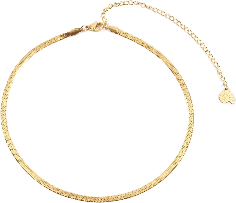 Happiness Boutique Damas Collar Choker de Espiga en Color Oro | Collar Delicado de Acero Inoxidable