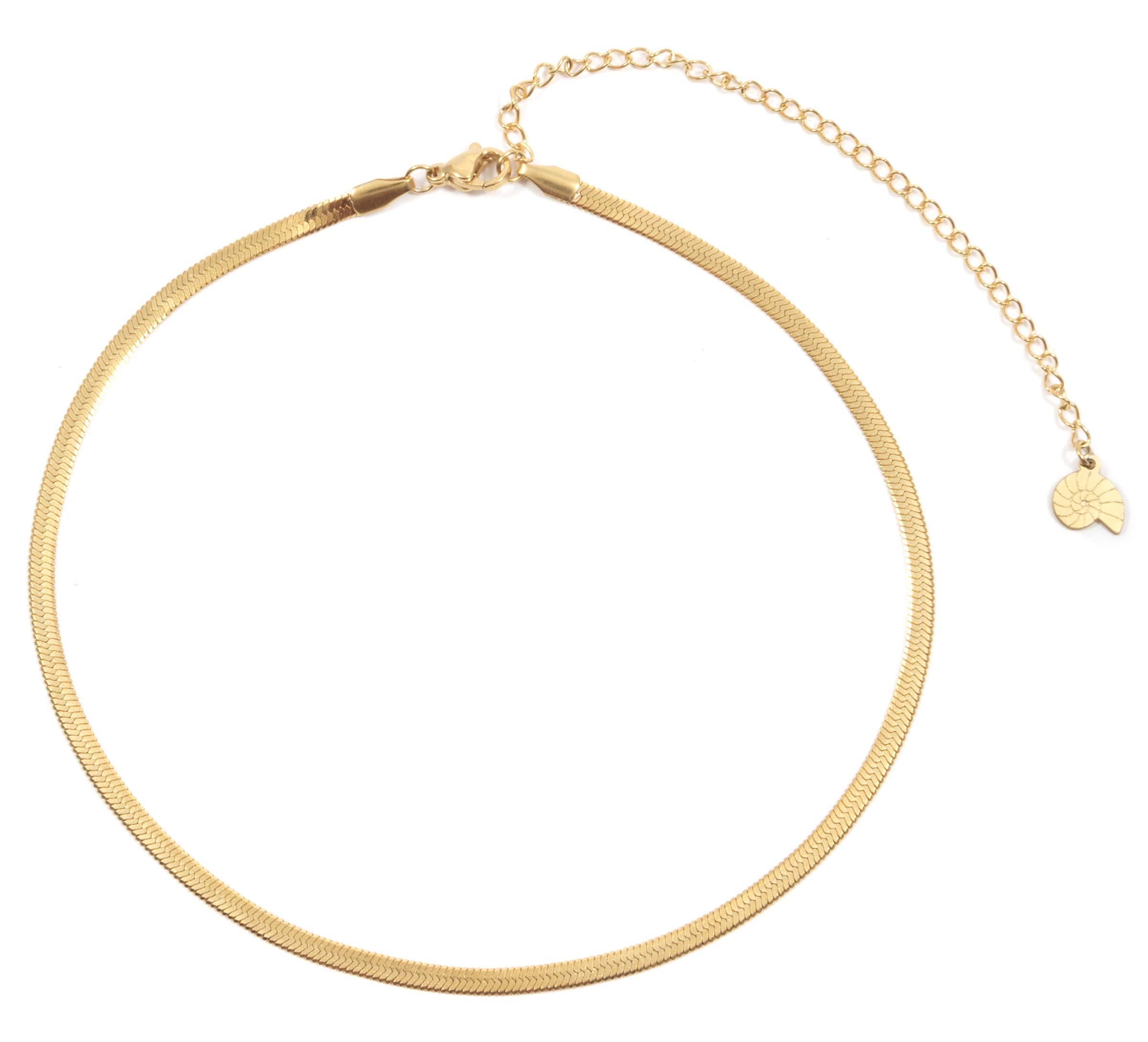 Happiness Boutique Herringbone Choker Necklace in Gold Color | Delicate Necklace Stainless Steel