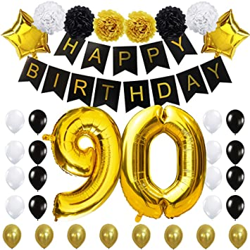 90TH Birthday Party Decorations Kit Happy Black Banner40inches Gold Foil