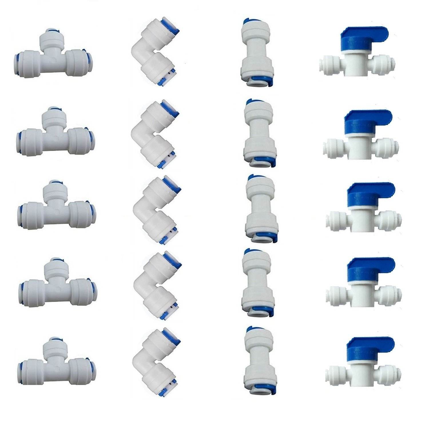 "1/4"" OD Quick Connect Push in to Connect for RO Water Reverse Osmosis System Water Tube Fitting Set of 20 (Ball Valve+T+I+L Type Combo)"