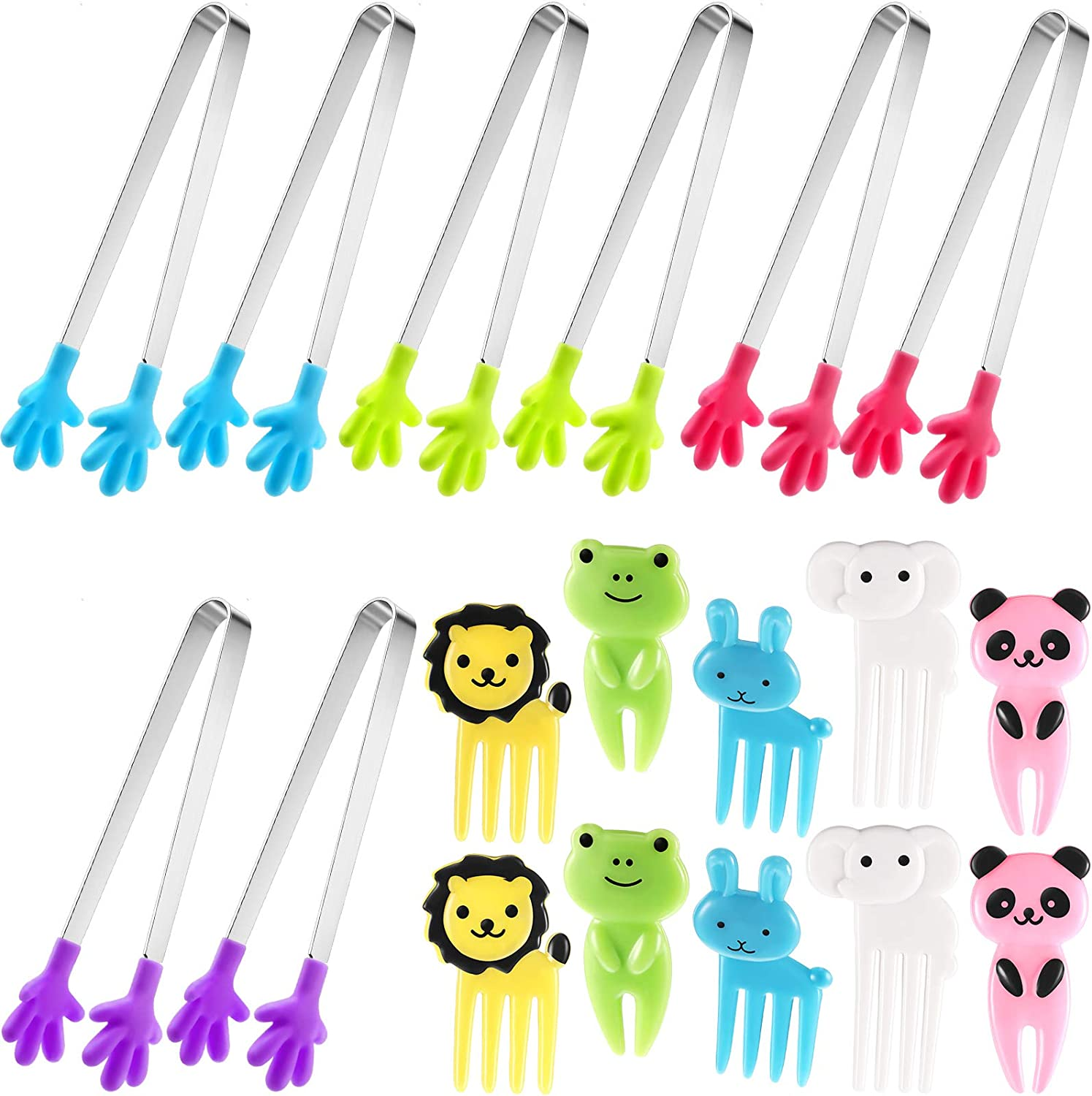 8 Pieces Small Serving Tongs Silicone Small Tongs Hand Shape Food Tongs Appetizers Tongs with 10 Pieces Cartoon Toothpick Animals Food Picks and Forks for Kids Parties Serving Food