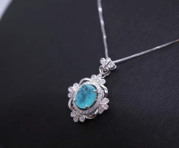Valentine Gift Natural Pariba Blue Green Tourmaline Oval Gemstone Pendent,Handmade Silver Pendent,925 Sterling Silver Pendent Gift for her