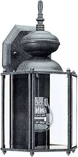 Sea Gull lighting 8509-12 Outdoor Wall Lantern One Light with Clear Beveled Glass, Black