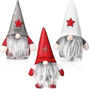 3 Pieces Christmas Gnome Mini Plush Handmade Santa Cloth Doll Snowman Xmas Figurines Toy Birthday Present for Home Christmas Holiday Decoration(Santa Gnome Plush)
