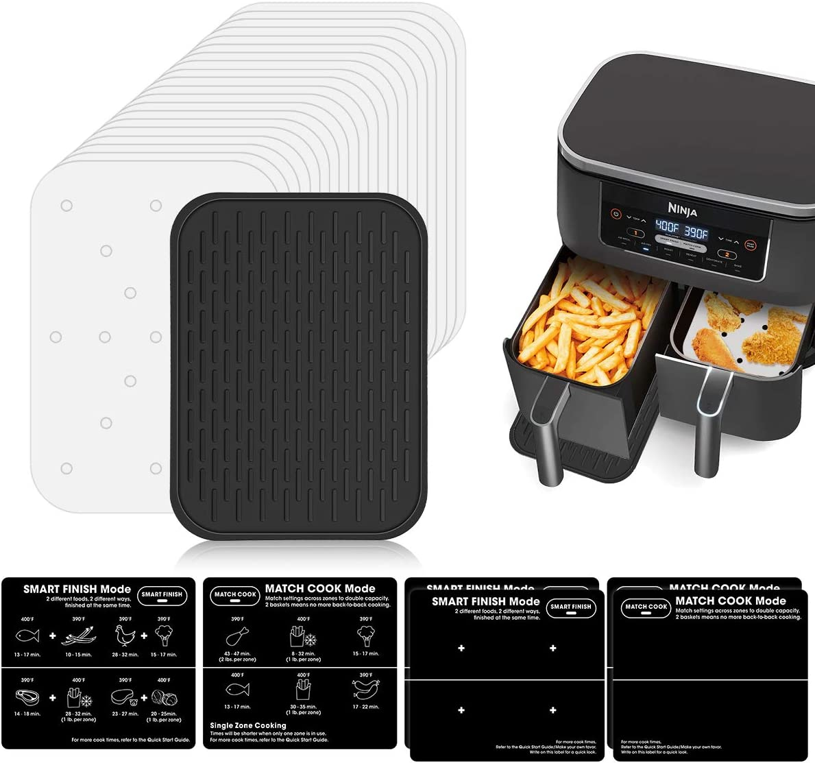 AIEVE Deluxe Accessories Set for Ninja Foodi Dual Basket Air Fryer, 100Pcs Air Fryer Liners, DIY Blank Stickers and Silicone Pad, Professional Designed for Ninja DZ201 Double Air Fryer Dual Basket