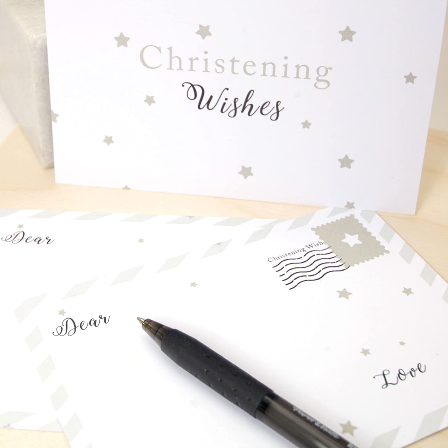 Christening Guest Book Styled Wishes Cards For 16 Guests Beautiful Keepsake Memory Cards with Pouch FREE UK Delivery (Pink) Rustic Robin