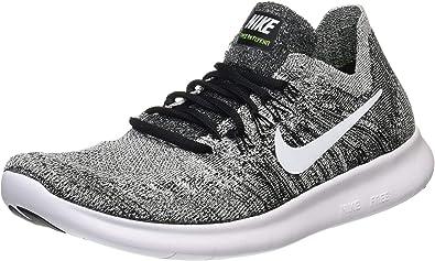Nike Men's Free RN Flyknit 2017 Running Shoes-Black/White-8.5