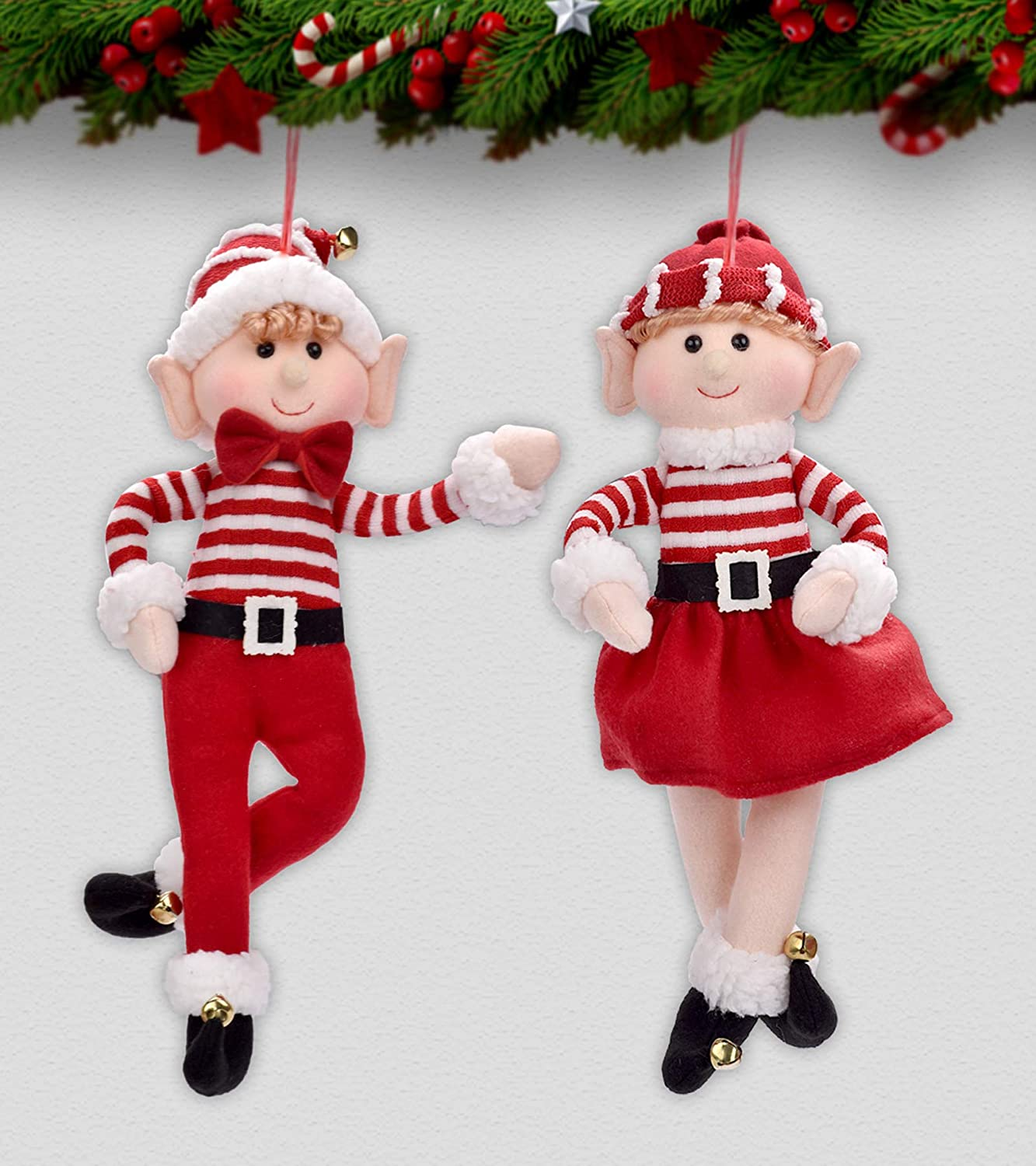 Elf Christmas Decor Boy and Girl 2 Pack Elves Christams Ornaments for Tree Decorations 2020 Elves Stuffed Animal for Festival