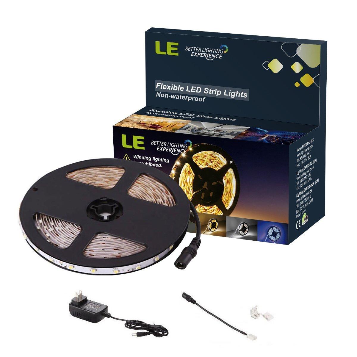 LE 16.4ft 12V Flexible LED Light Strip, LED Tape, 6000K Daylight White, 300 Units SMD 2835 LEDs, Non Waterproof, LED Ribbon, LED Light Strips, For Home/Kitchen/Car/Bar, Power Adapter Included