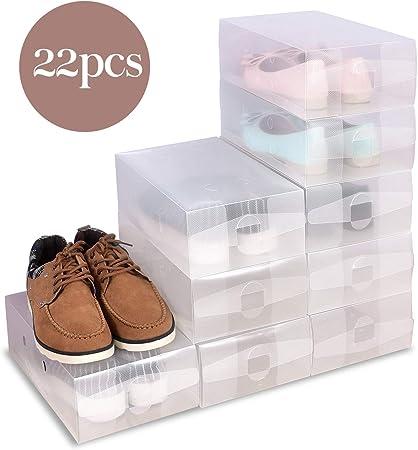 Hapilife 22 x señoras Claro zapatos de plástico caja de almacenamiento apilables Cajas plegables Formadores: Amazon.es: Hogar