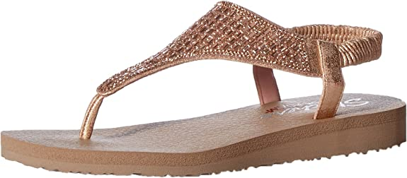 Skechers Cali Women's Meditation-Rock Crown Flat Sandal,rose gold,7 M US best girls' spring dress shoes