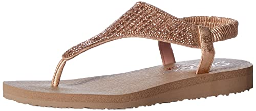 cd82e6c595f0 Skechers Women s Meditation-Rock Crown Rose Gold Leather Flip-Flops-4 UK
