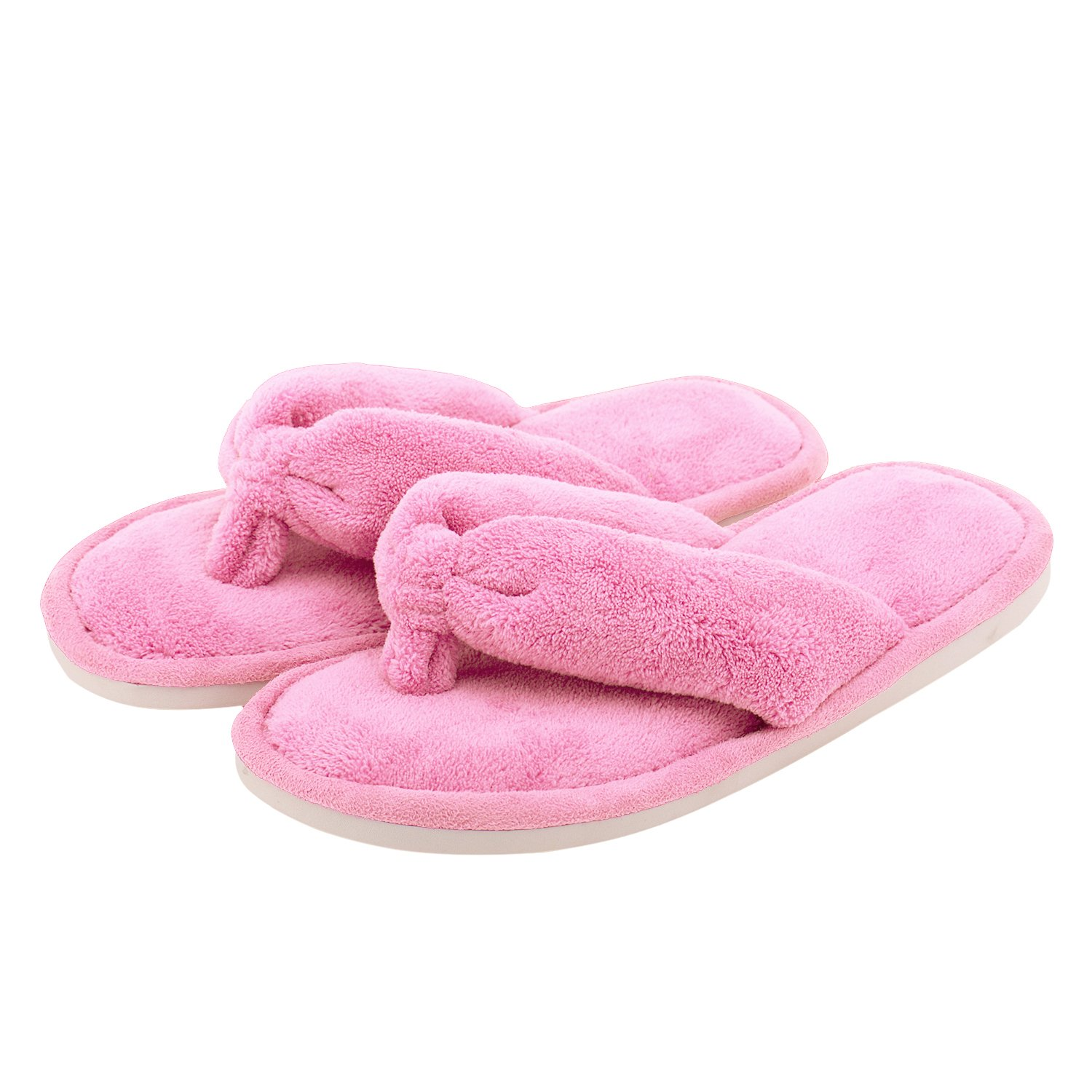 Indoor Slippers for Women Open Toe, Soft Plush Anti Slip Thong Slippers (M- US Women Size 7-8, Pink)