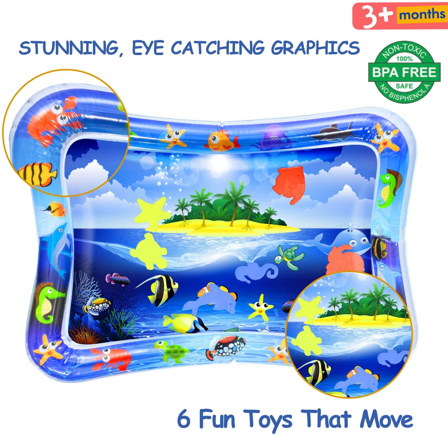 26 inch Infant Toys Baby Play Mat /3 Month Old Baby Toys Development Portable Baby Toys Tummy Time Baby Water Mat for 3//6 Months