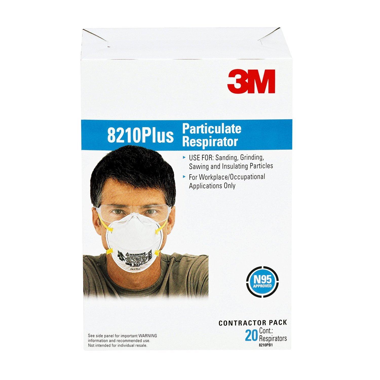 3M Standard N95 8210 Plus Disposable Particulate Respirator, Meets NIOSH & OSHA Standards 20 per box, 200 per 1 Case of 10, (200 Dust Masks)