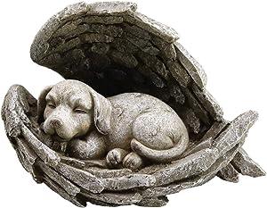 Bloom Flower Dog Sleeping in Angel Wings Pet Memorial Garden Tribute Statue,12 Inch