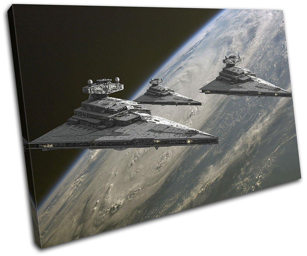 Bold Bloc Design - Star Wars Star Destroyer Movie Greats 90x60cm SINGLE Leinwand Kunstdruck Box gerahmte Bild Wand hangen - handgefertigt In Grossbritannien - gerahmt und bereit zum Aufhangen - Canvas Art Print