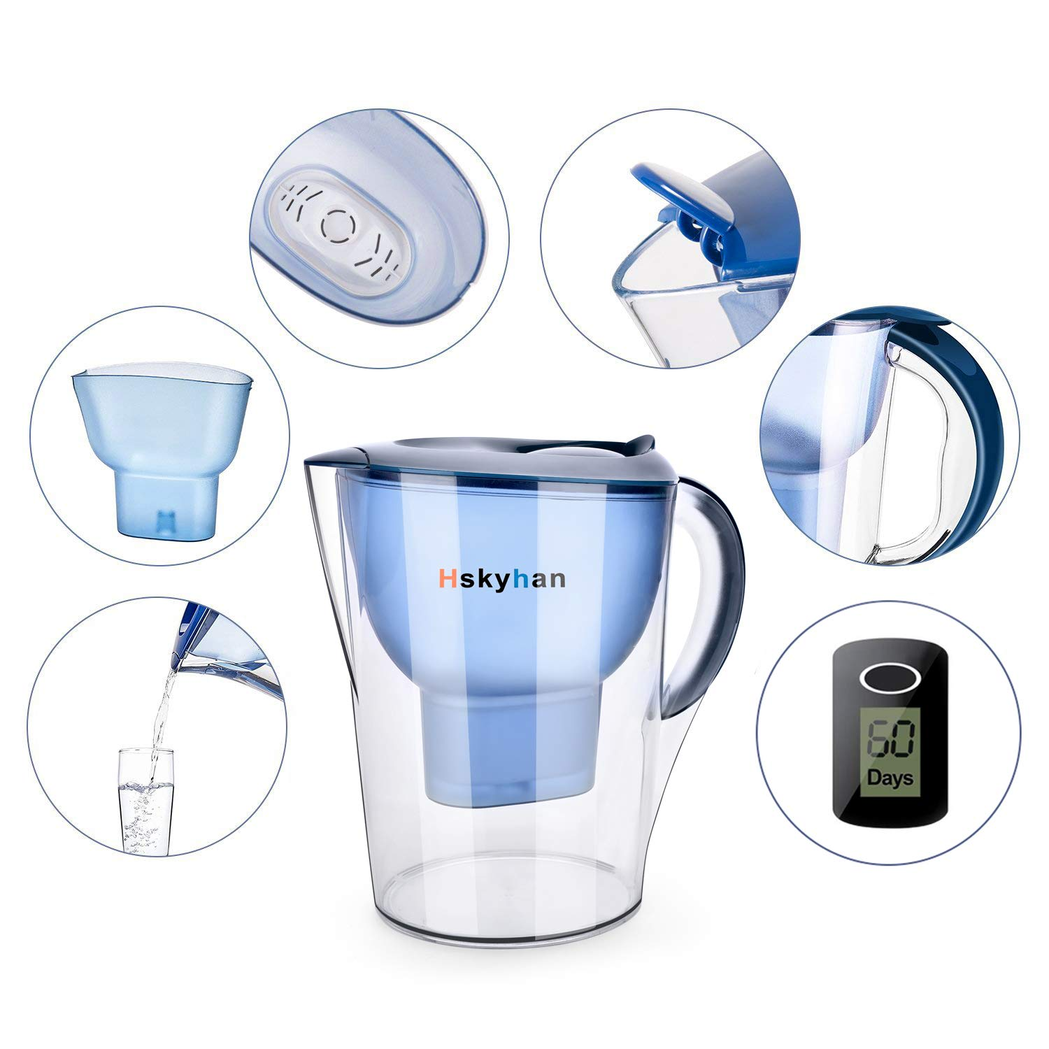 Hskyhan Alkaline Water Filter Pitcher - 3.5 Liters Improve PH, 2 Filters Included, 7 Stage Filteration System to Purify, Blue by Hskyhan (Image #2)