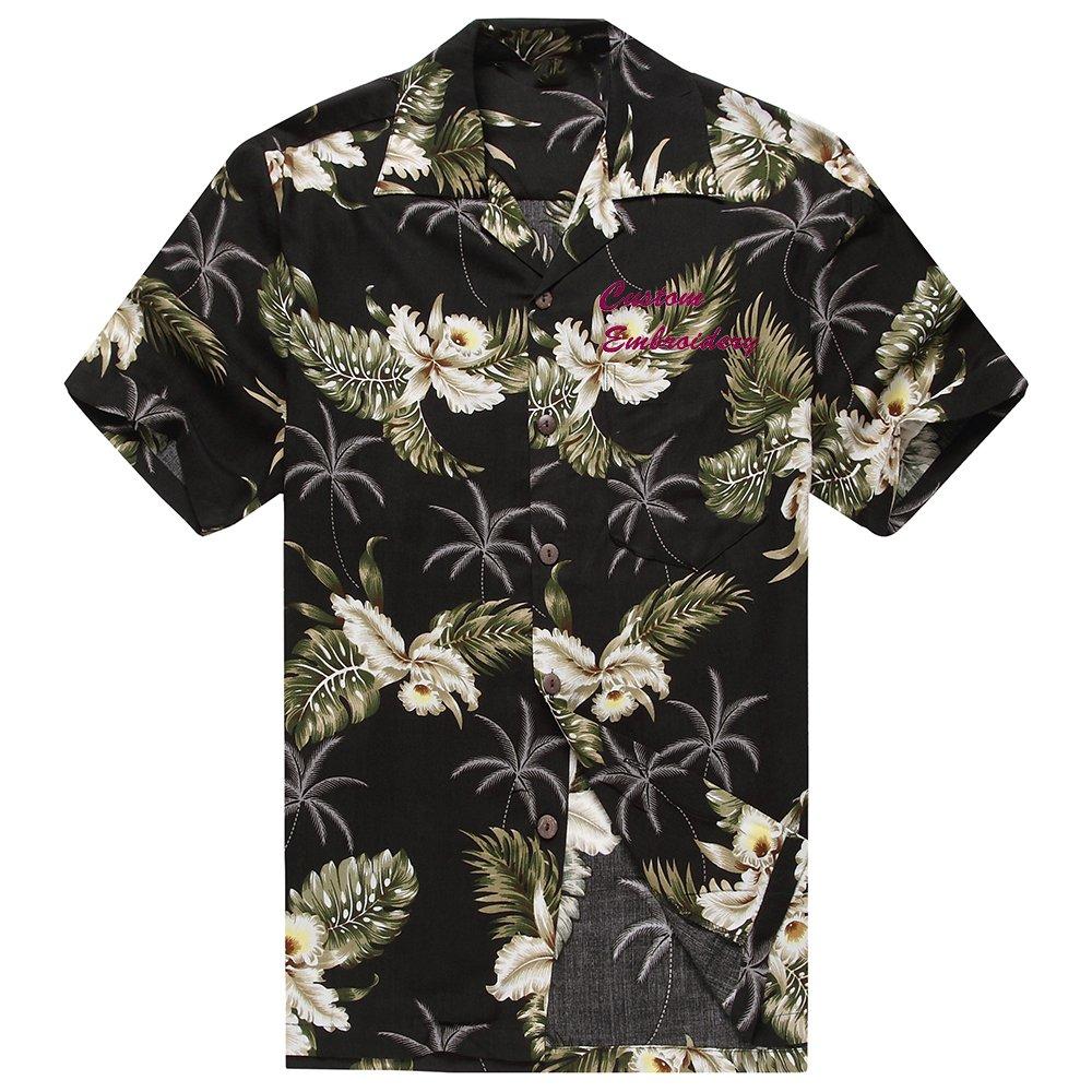 Made in Hawaii Mens Hawaiian Shirt Aloha Shirt Hibiscus Black