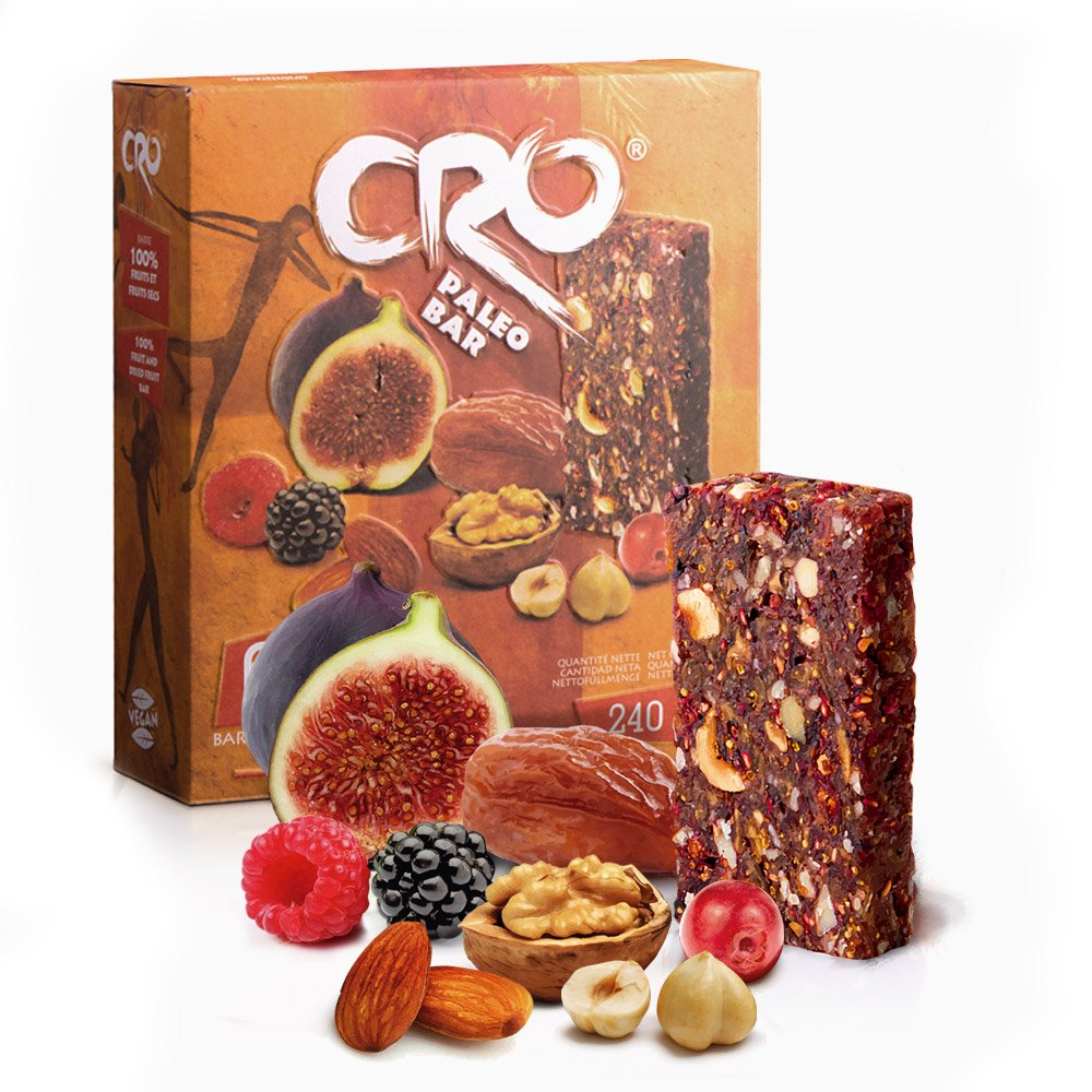 CRO PALEO BAR | OFERTA ESPECIAL | 4 CAJAS | 10% DE DESCUENTO | Barra energética inspirada para una dieta Paleolitica | 100% natural | 24 x 40 g | ...