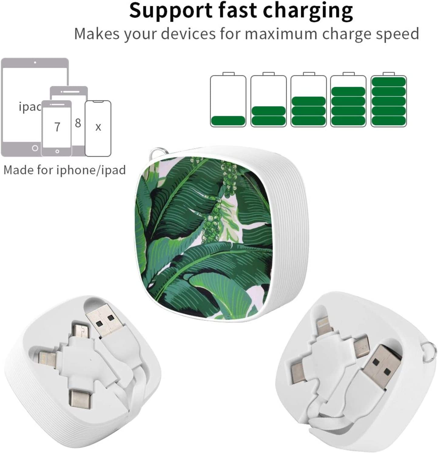 Banana Leavesthe Square Three-in-One USB Cable is A Universal Interface Charging Cable Suitable for Various Mobile Phones and Tablets
