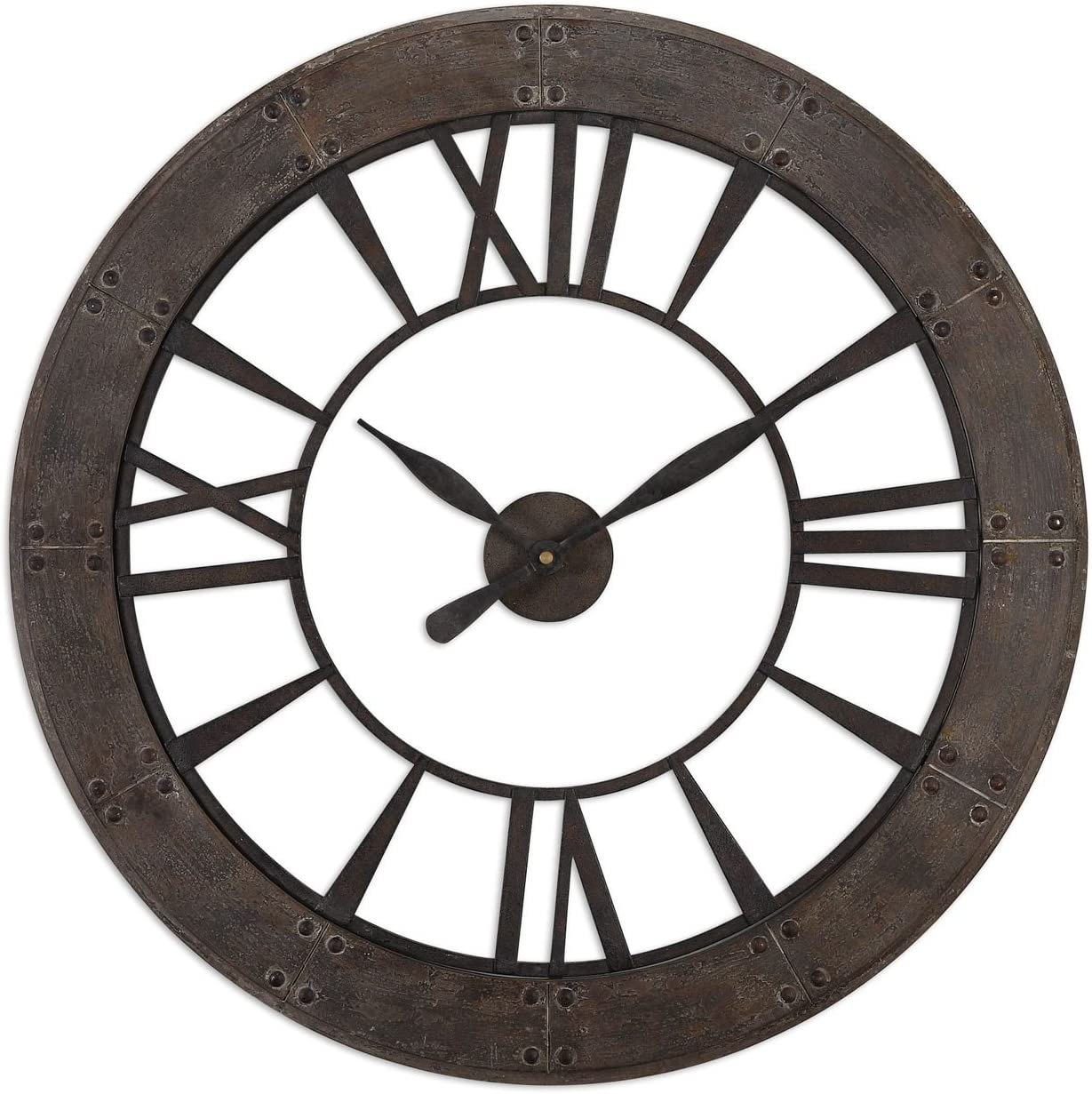 Rustic Round Iron Bronze Wood Wall Clock Large Open Design Distressed