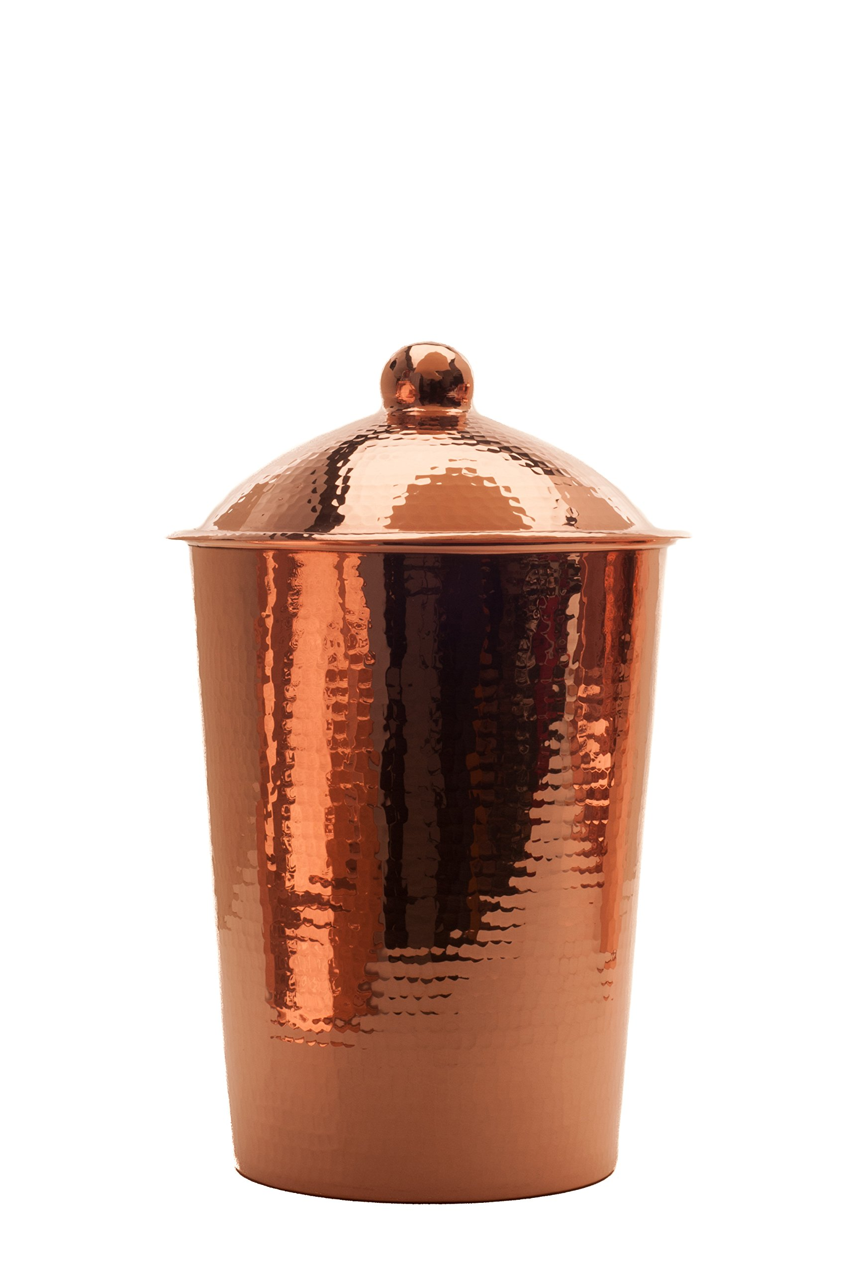 Sertodo Copper, Hand Hammered Pure Copper, Kumran Kitchen Counter Storage Canister with Lid, Medium (4-quarts, 11''H x 6.5''W)