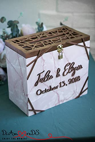 Amazon Com Pink Marble Wedding Card Box With Lock And Slot With